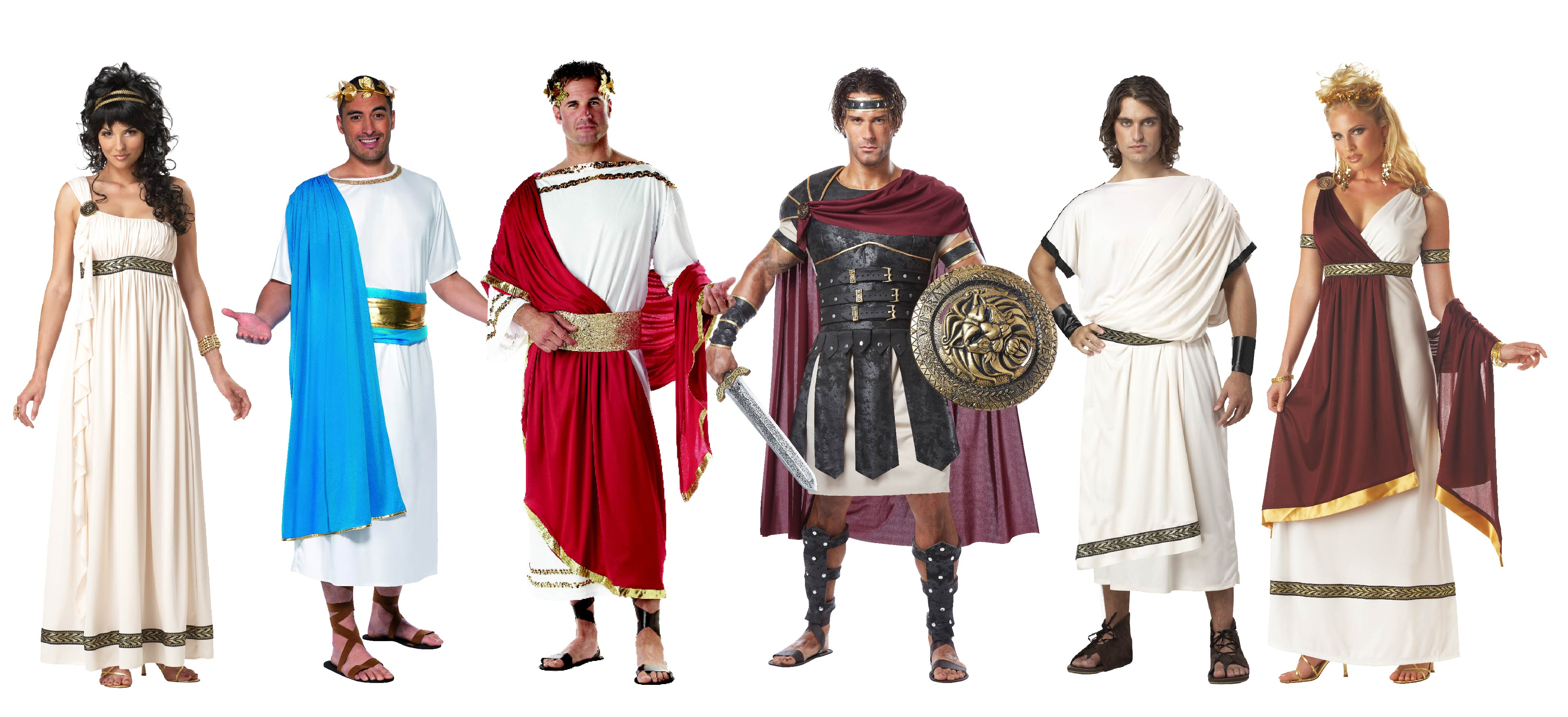 People wearing Roman Royalty group costume including warriors, emperors and queens.