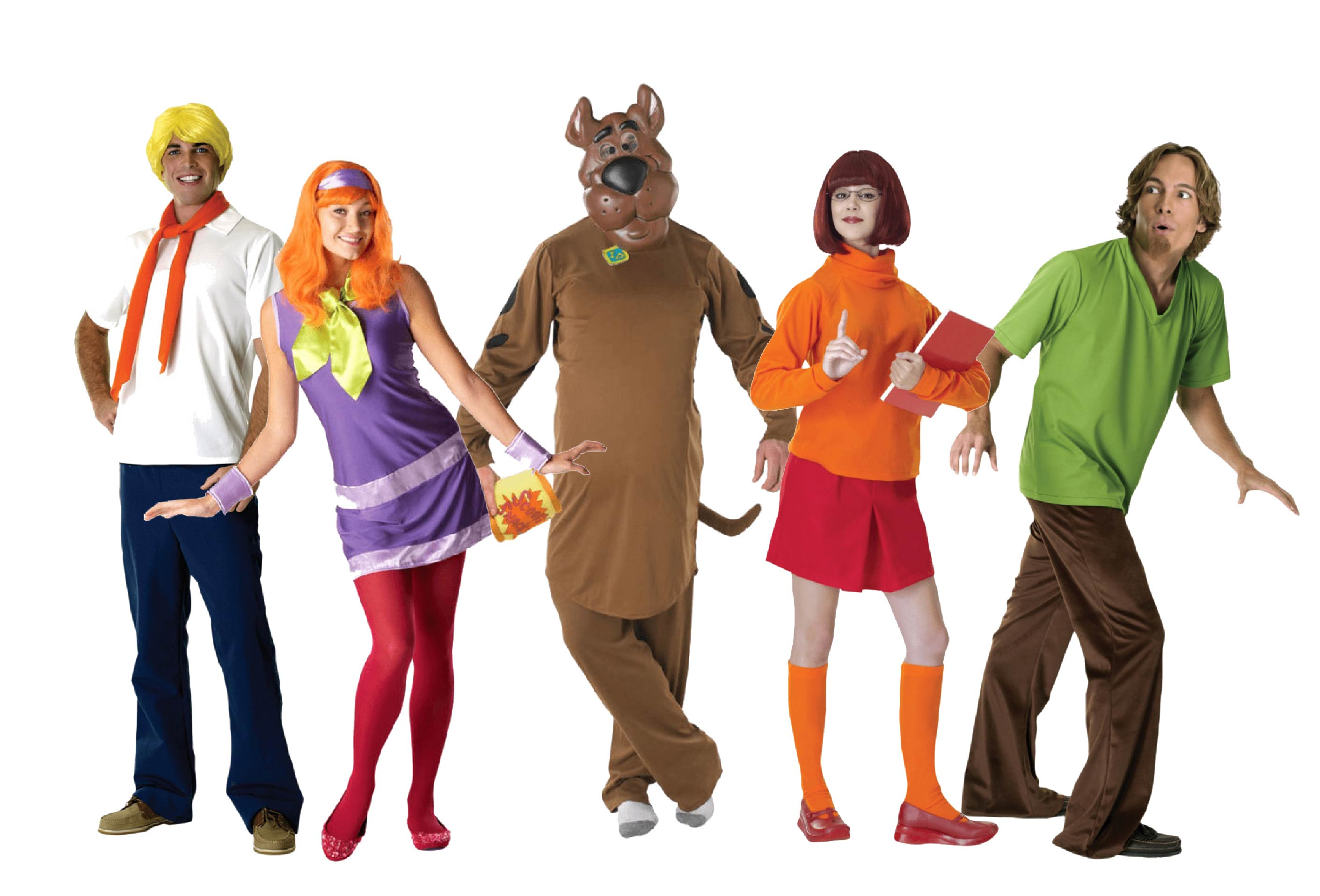 A group of people wearing Scooby Doo fancy dress including Shaggy, Daphne, Fred, Velma and Scooby.