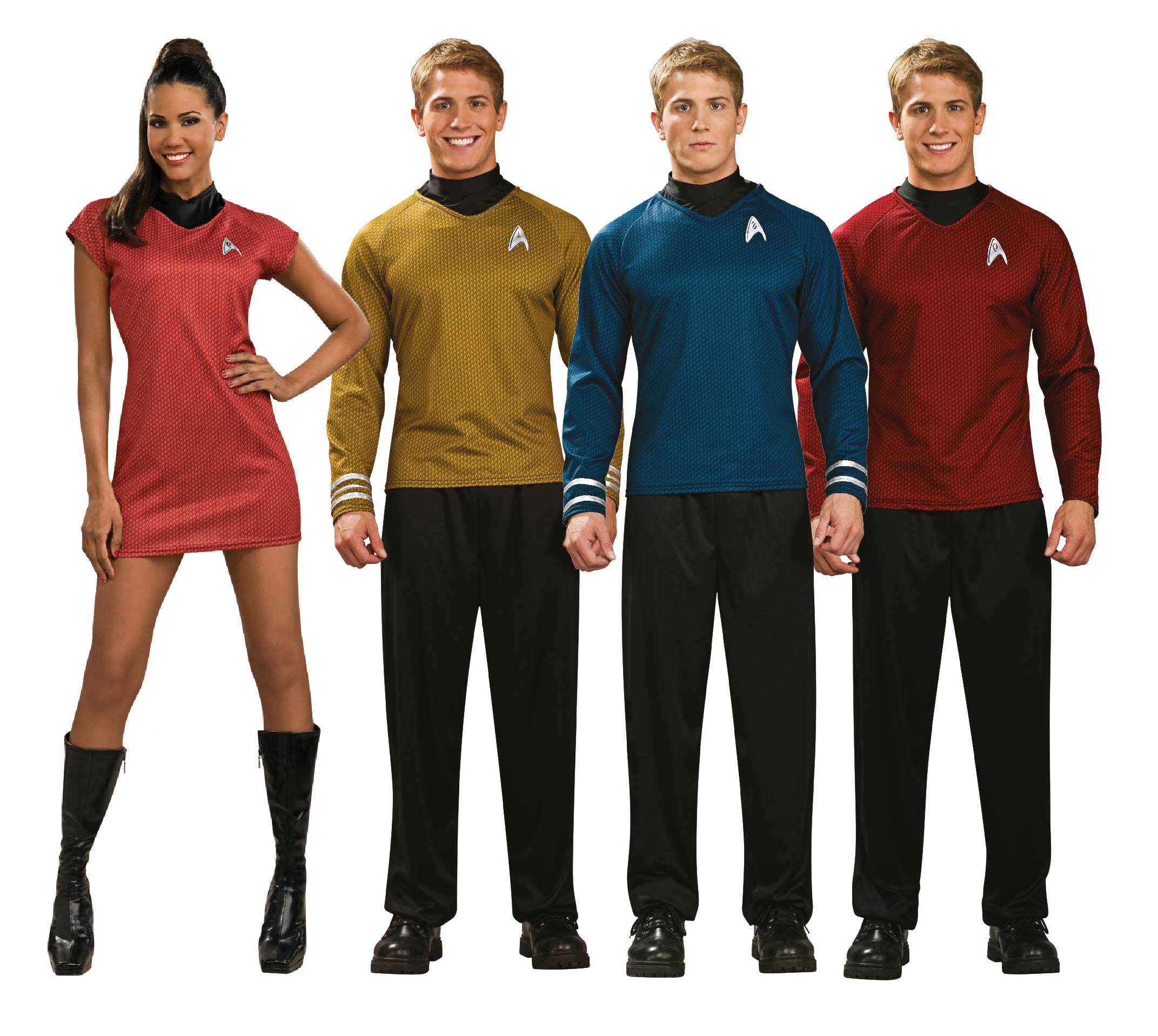 Three men and a woman wearing Star Trek group fancy dress.