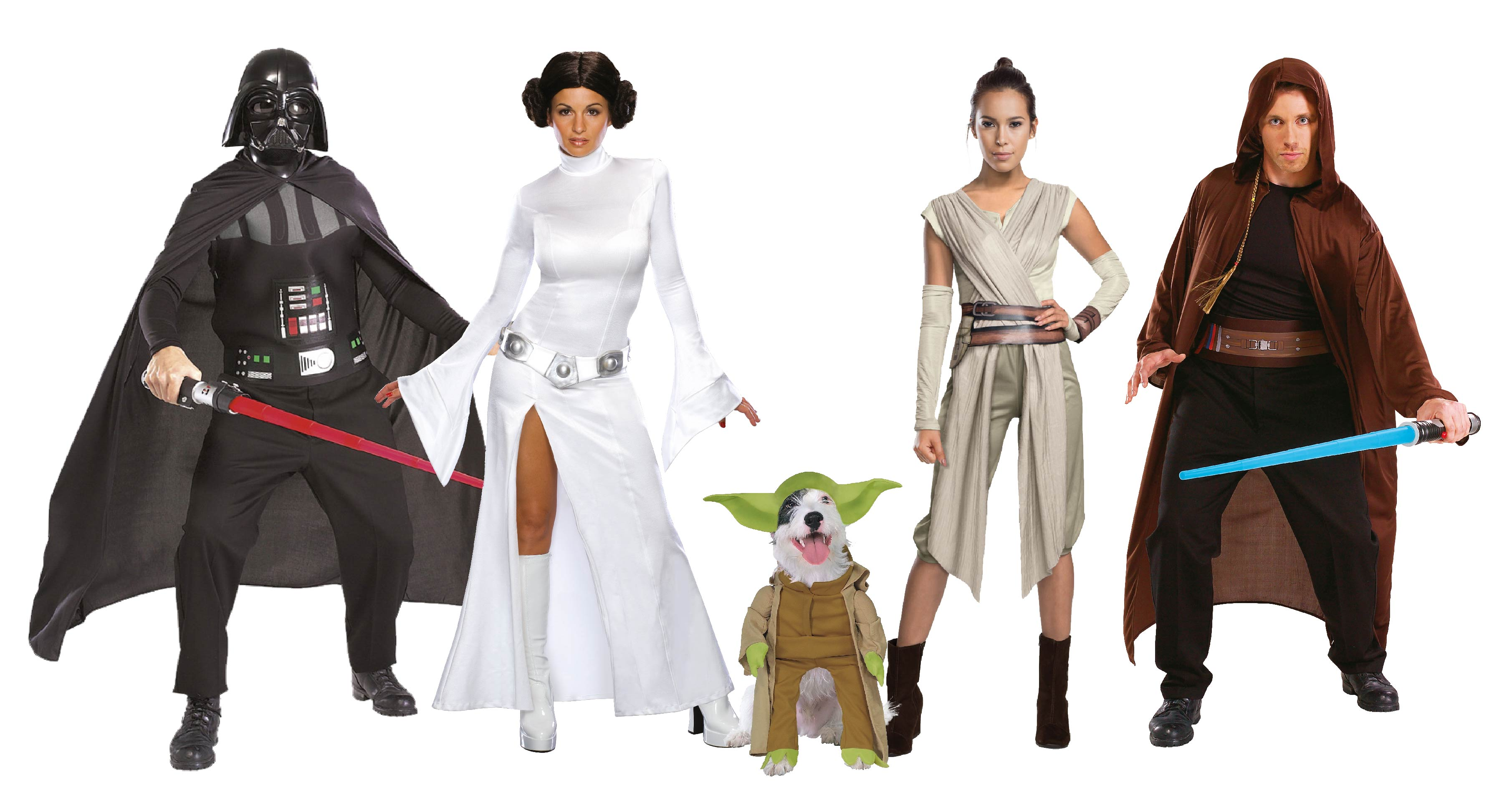 Adults wearing Star Wars group costume including jedi robe, Darth Vader, Yoda, Princess Leia and Rey.