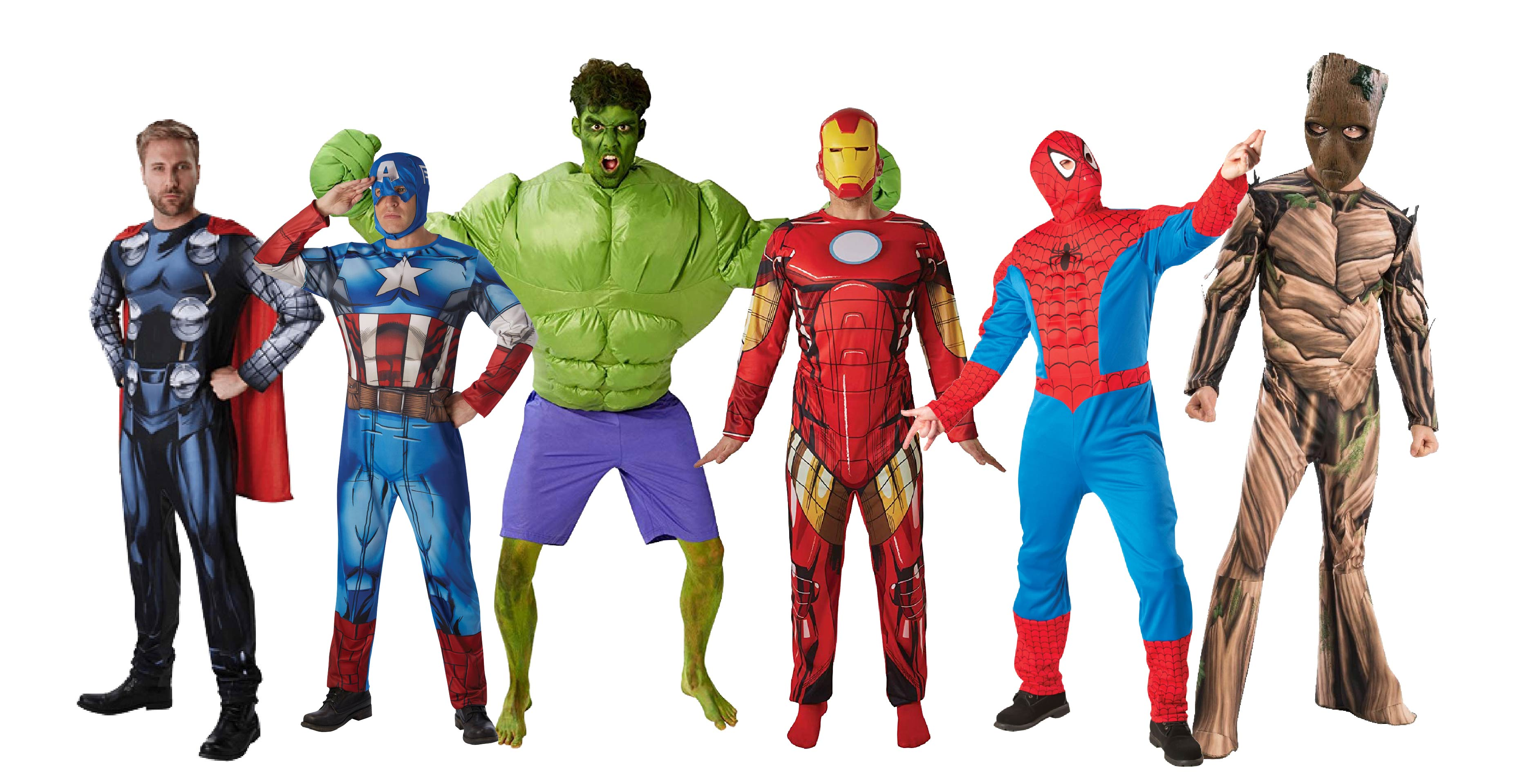 Group of people wearing The Avengers superhero costumes by Marvel.