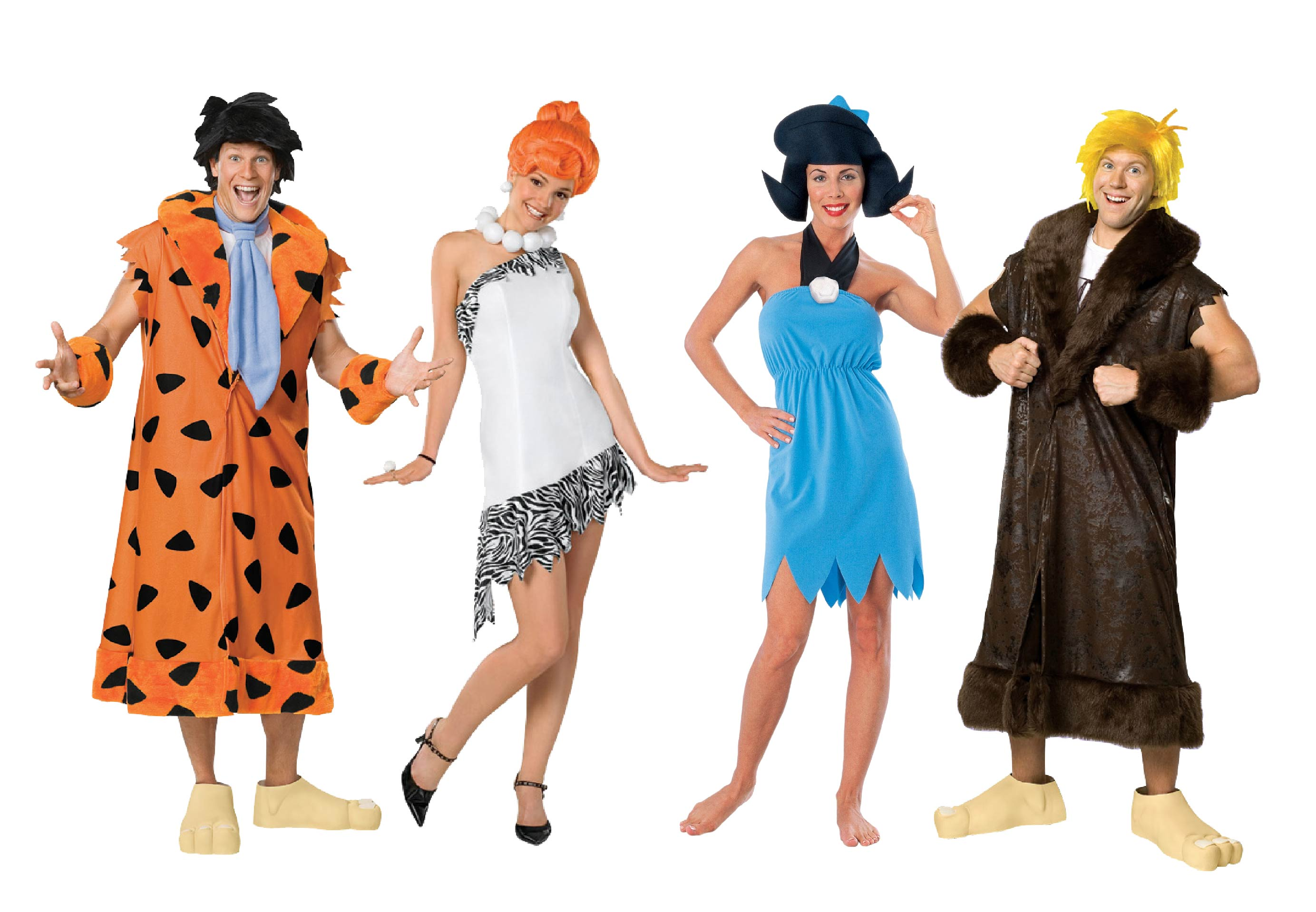 Men and womens wearing group Flintstones costumes including Fred, Wilma, Betty and Barney.