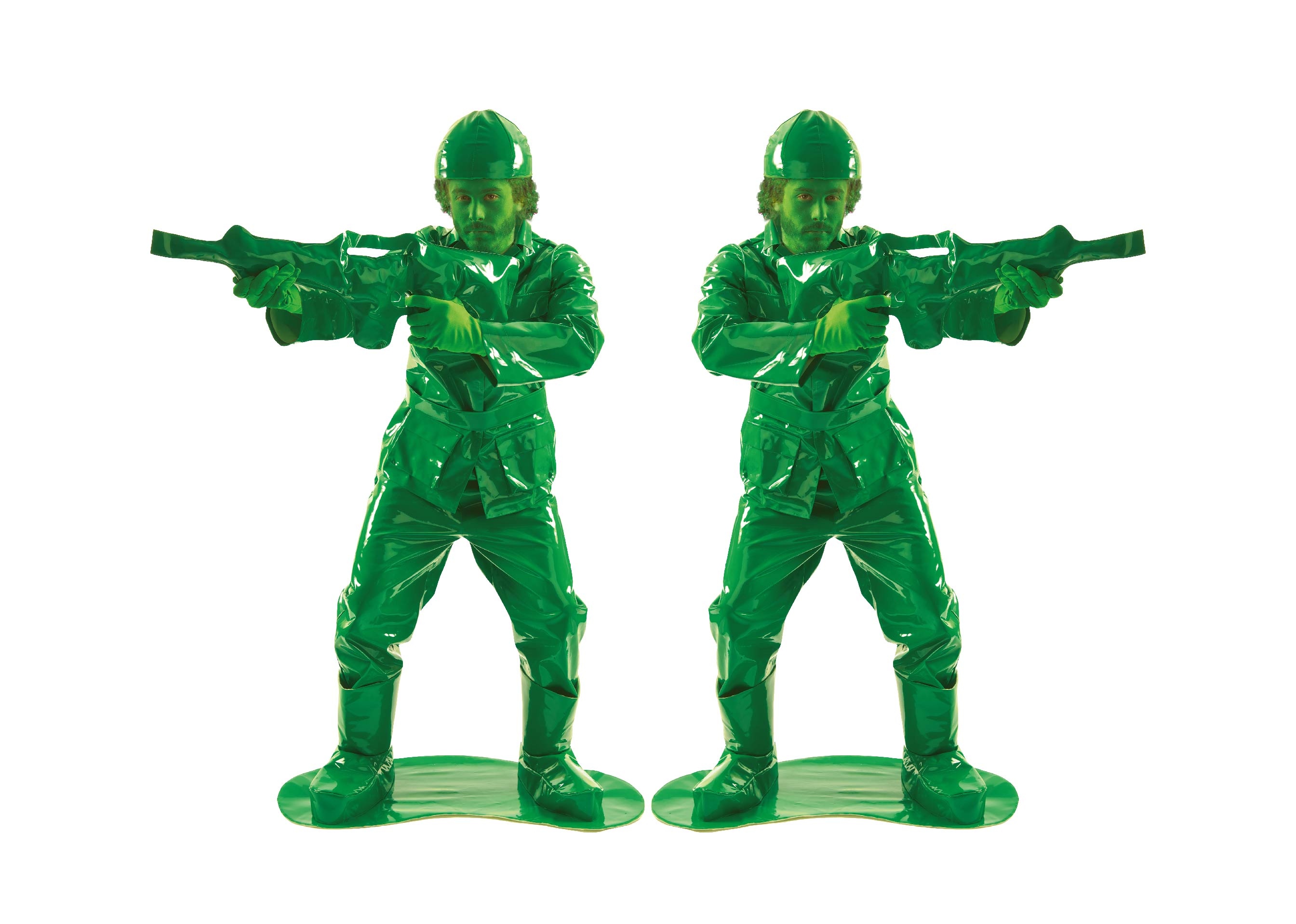 Men wearing green toy army men costumes.