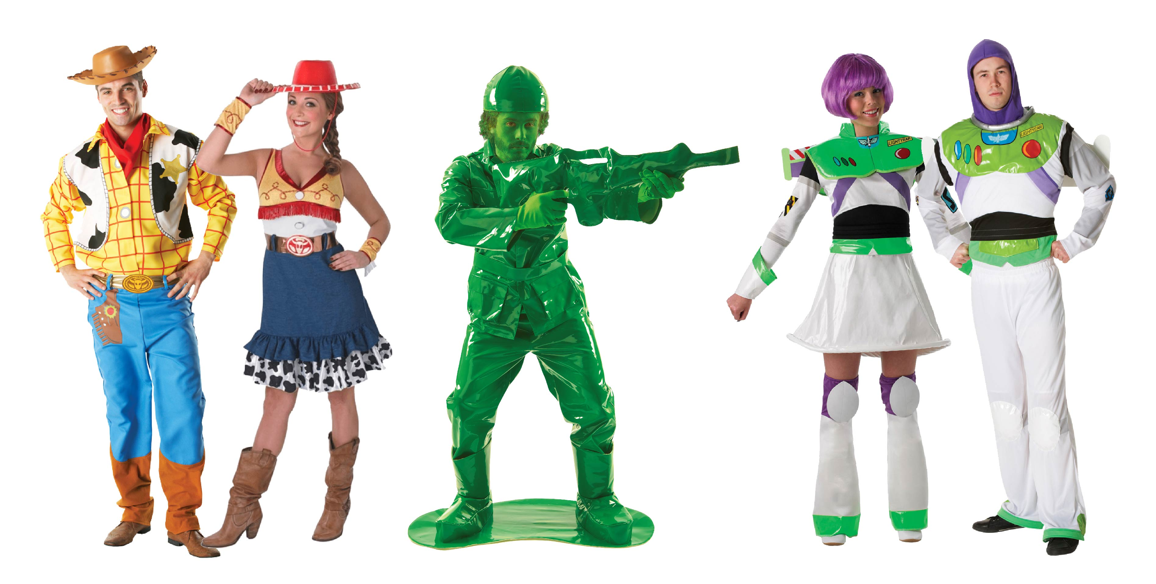 Adults wearing group Toy Story costumes by Disney.