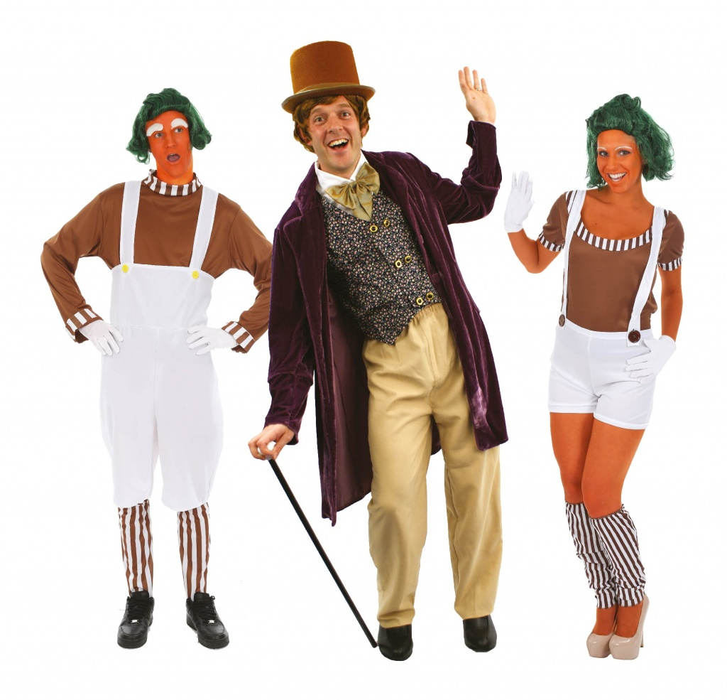 Man wearing a Willy Wonka costume with two oompa loompas for group Charlie And The Chocolate Factory fancy dress.