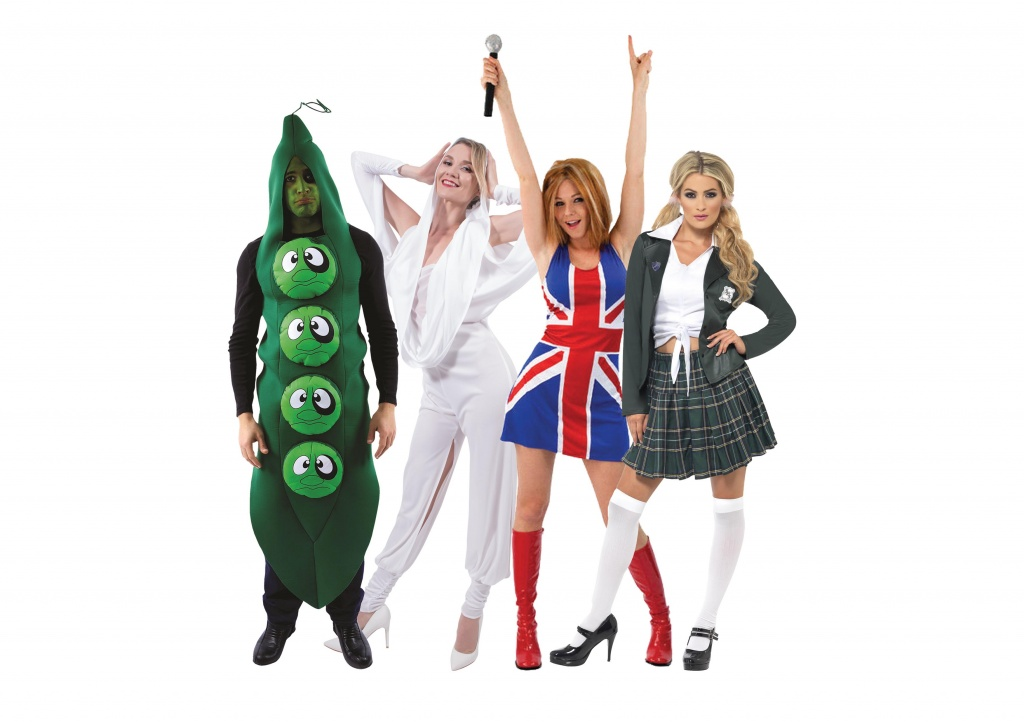 A music group costume including Britney Spears, Black Eyes Peas, Kylie Minogue and Geri Halliwell.