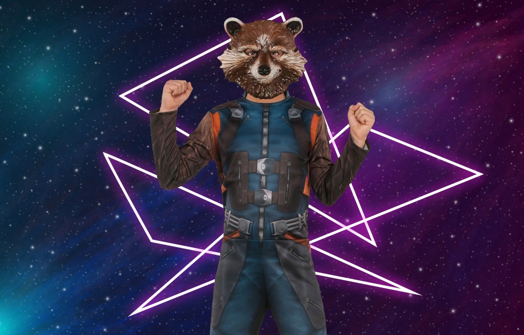 Child dressed in Rocket Raccoon Costume with mask from Guardians of the Galaxy.