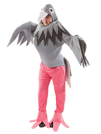 Man wearing giant grey Pigeon costume with pink legs.