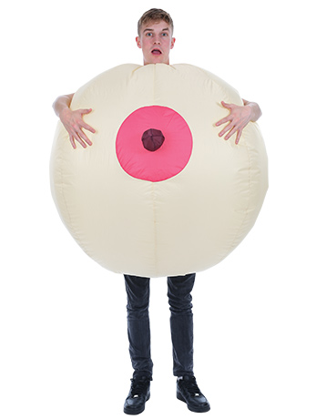 Man wearing Giant Inflatable Boob Costume.