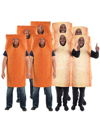 A group of men wearing Fish fingers and Chips costumes.