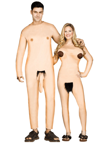 Man and woman dressed in hairy nudist couples costume.