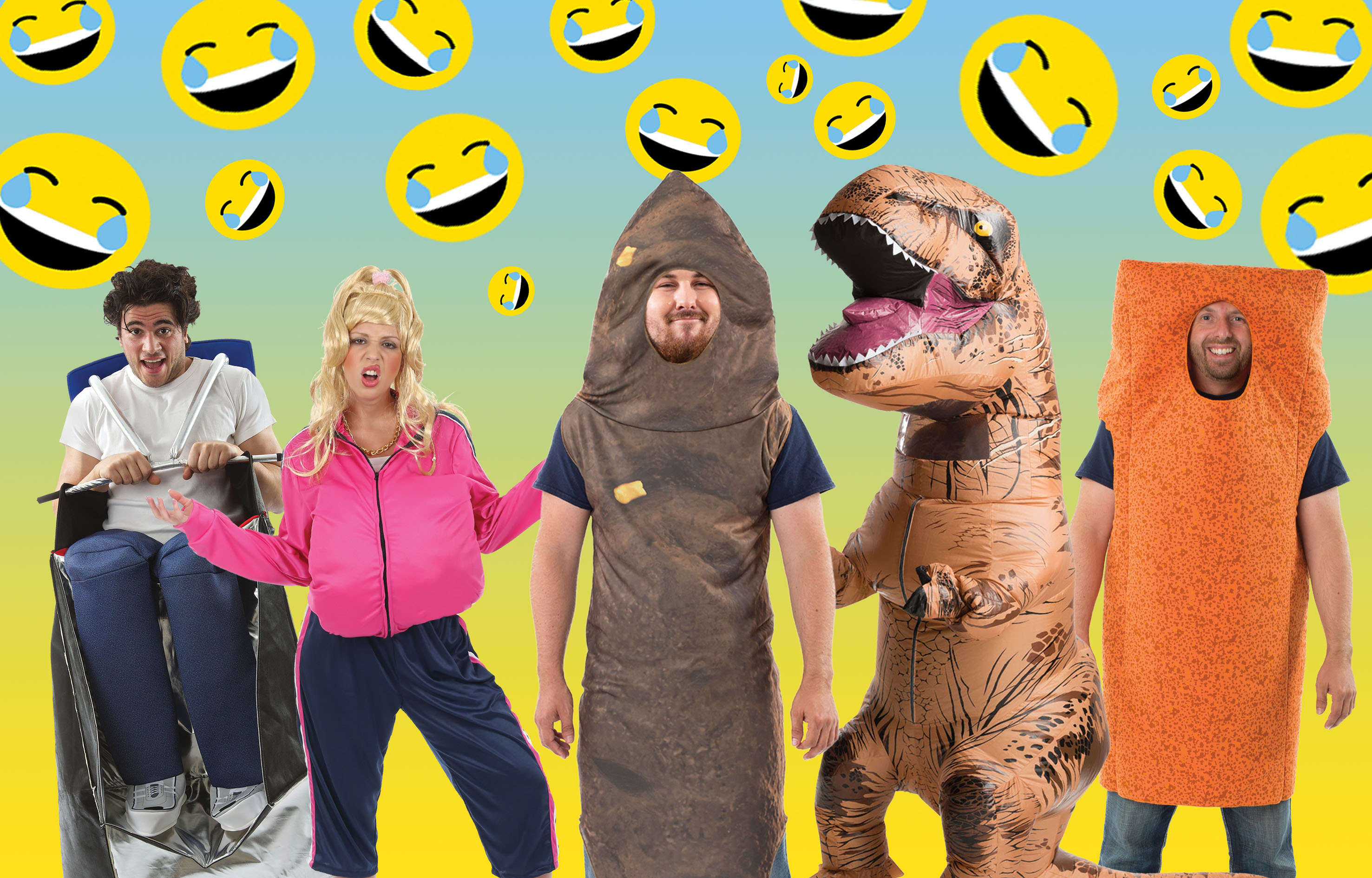 A group of people wearing various funny fancy dress costumes.