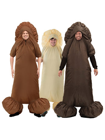 Men wearing multi coloured inflatable penis costumes.