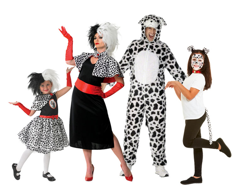 A family wearing 101 Dalmatians costumes including Cruella De Vil costumes.