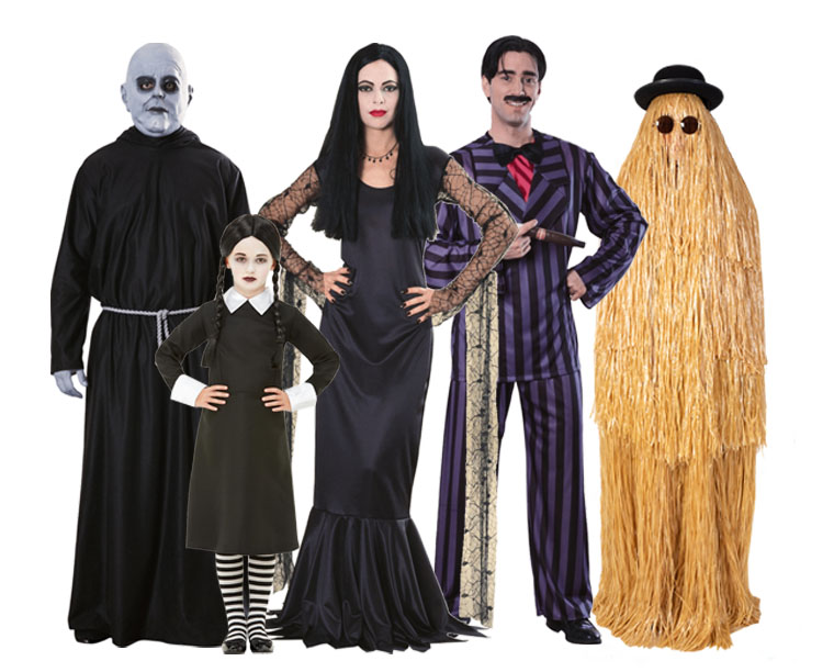 A group of people dressed as The Addams Family.
