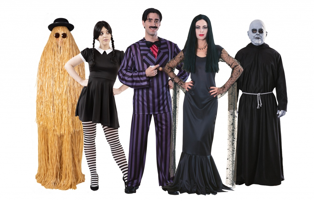 A group of people wearing Addams Family Costumes.