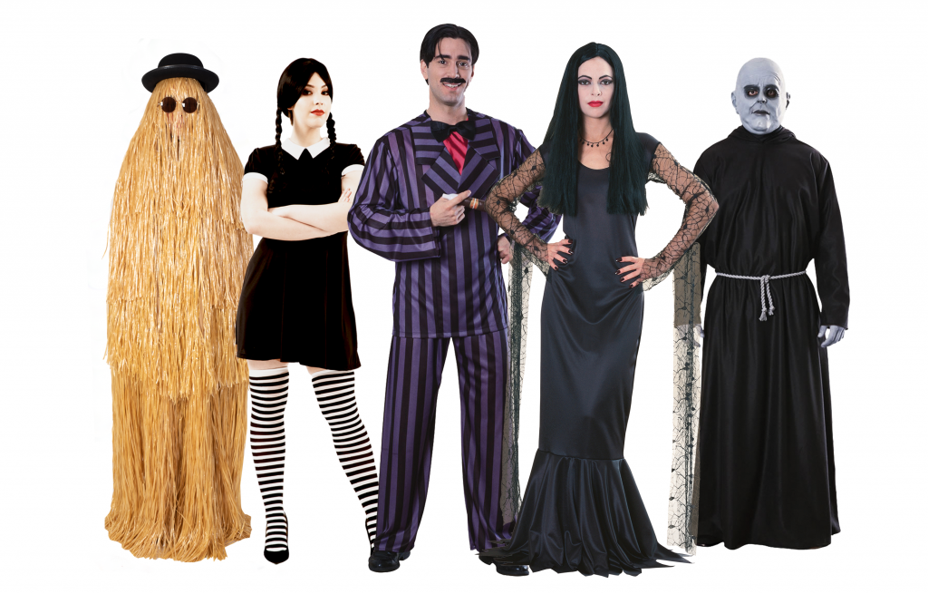 A group of people wearing The Addams Family costumes for halloween movie costumes.