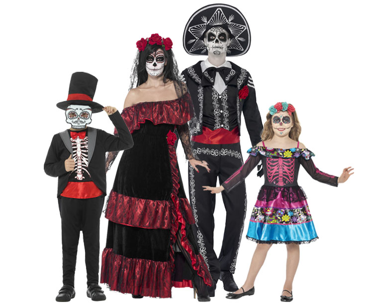 A family wearing Day of the Dead costumes.