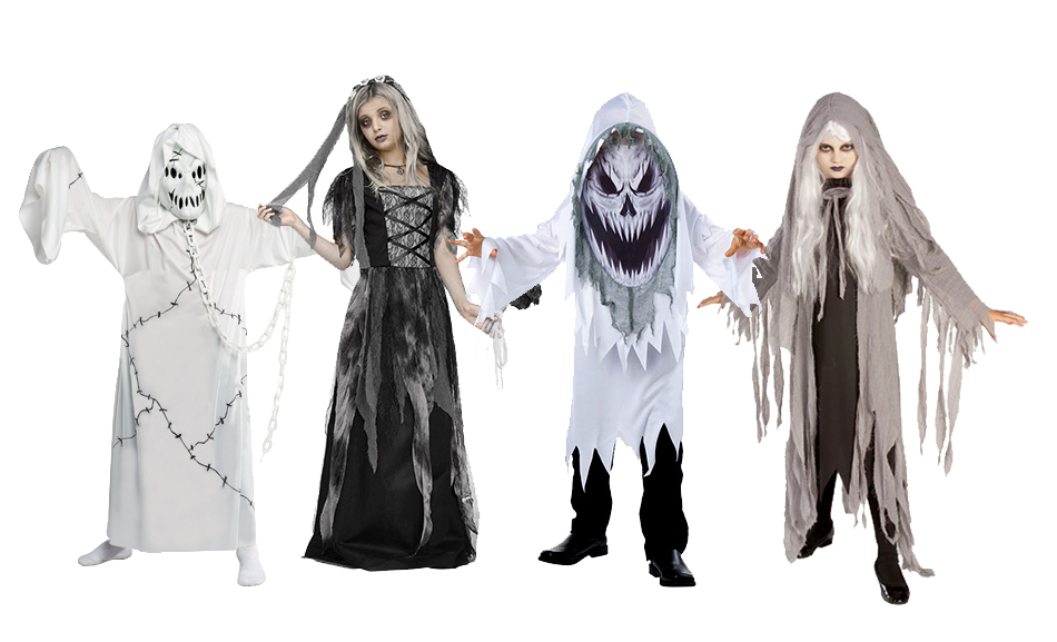A group of children wearing Halloween ghost costumes.
