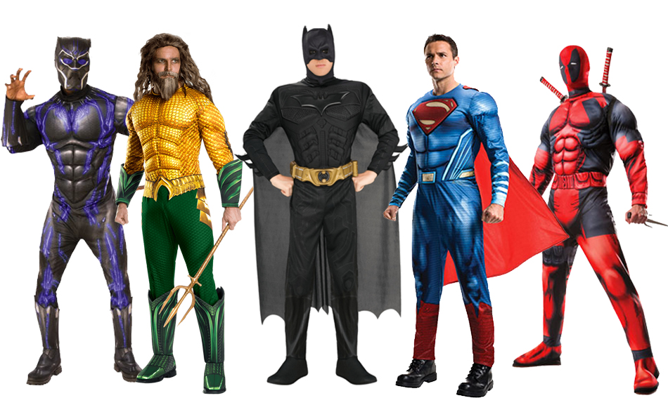 A group of men wearing various superhero costumes.