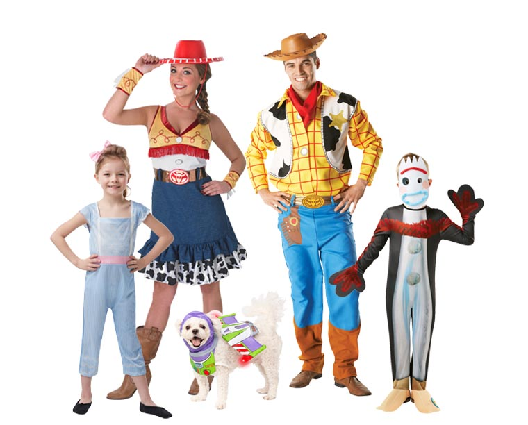 A family wearing Toy Story 4 costumes for Halloween.