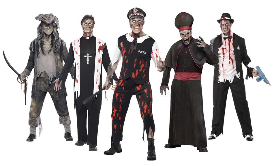 A group of men wearing Halloween zombie costumes.