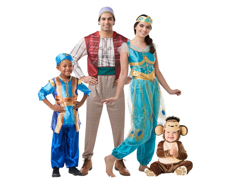 A family wearing 2019 Aladdin costumes for Halloween.