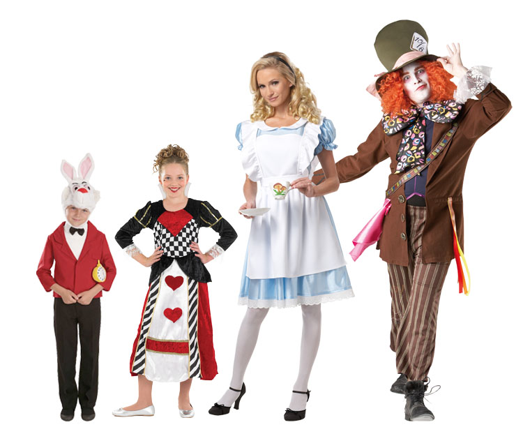 A family dressed in Alice in Wonderland costumes.