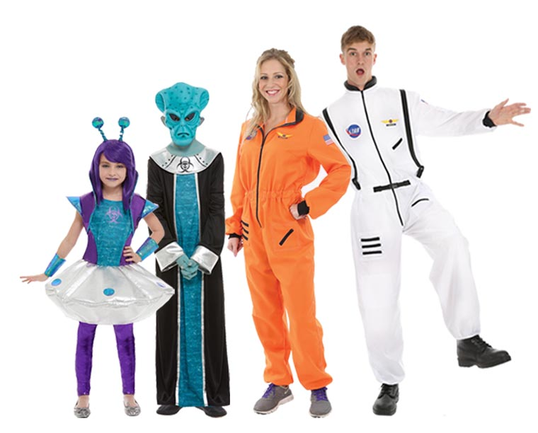 A family wearing astronaut and aliens Halloween costumes.