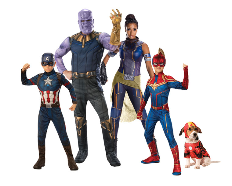A family all wearing Avengers superhero costumes.