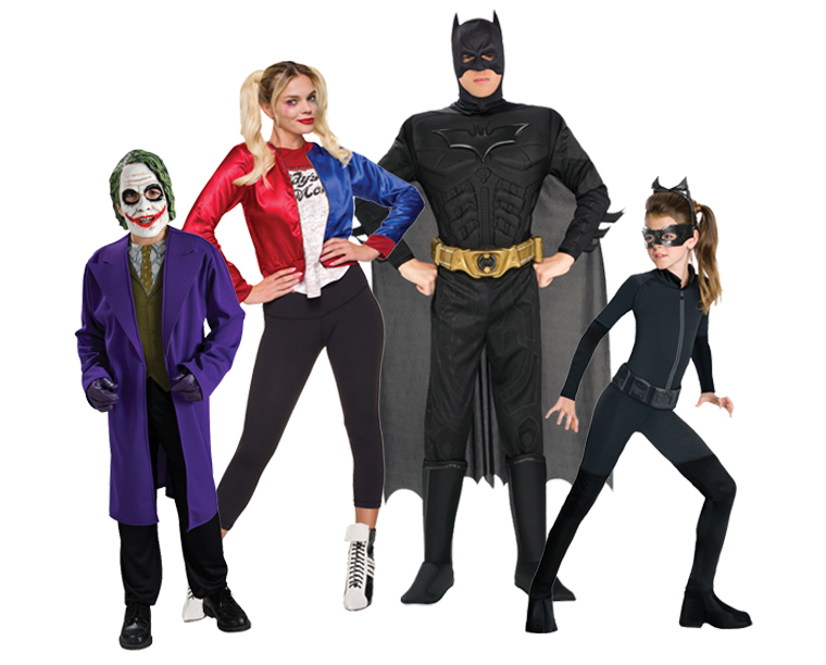 A family wearing Batman and Gotham costumes.