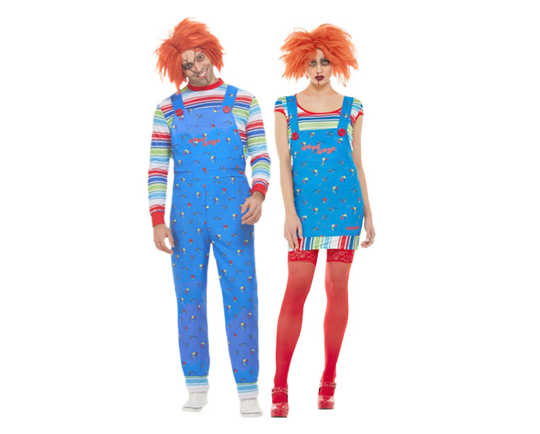 Man and woman wearing blue and red Chucky Halloween Movie costumes.