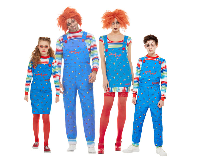 A family dressed in Chucky doll costumes for Halloween.