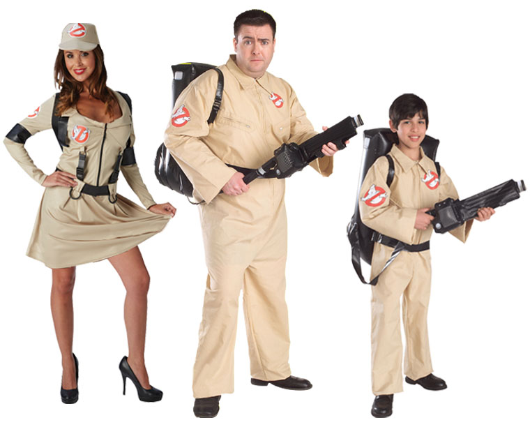 A family wearing Ghostbusters boiler suit costumes.
