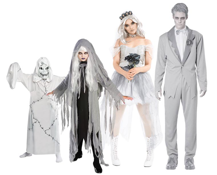 A family wearing Ghost Halloween costumes.