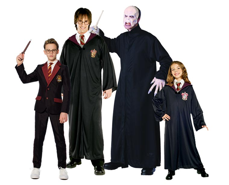 A family wearing Harry Potter costumes including Voldemort.