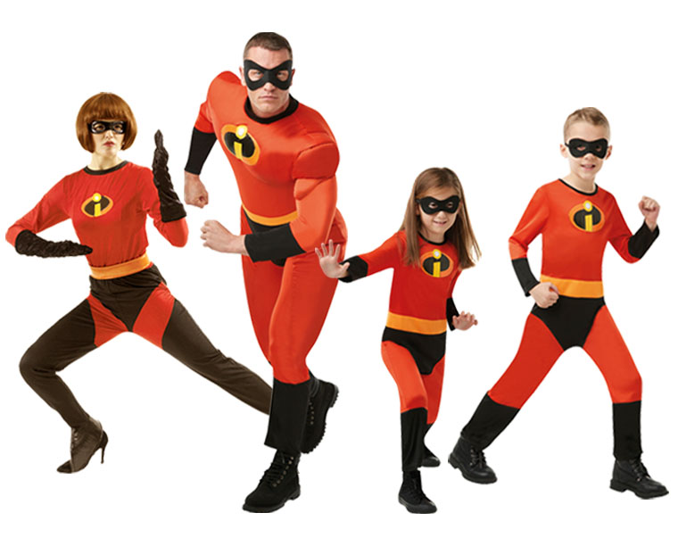 A family wearing red The Incredibles costumes by Disney.