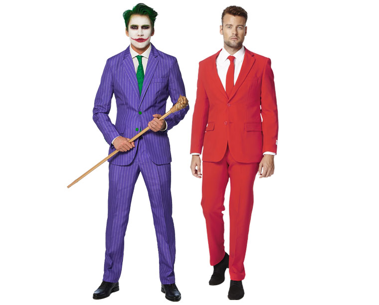 A man wearing a purple Joker suit and a man wearing a red suit.