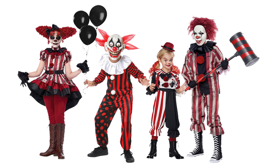A group if children wearing red, white and black clown costumes.