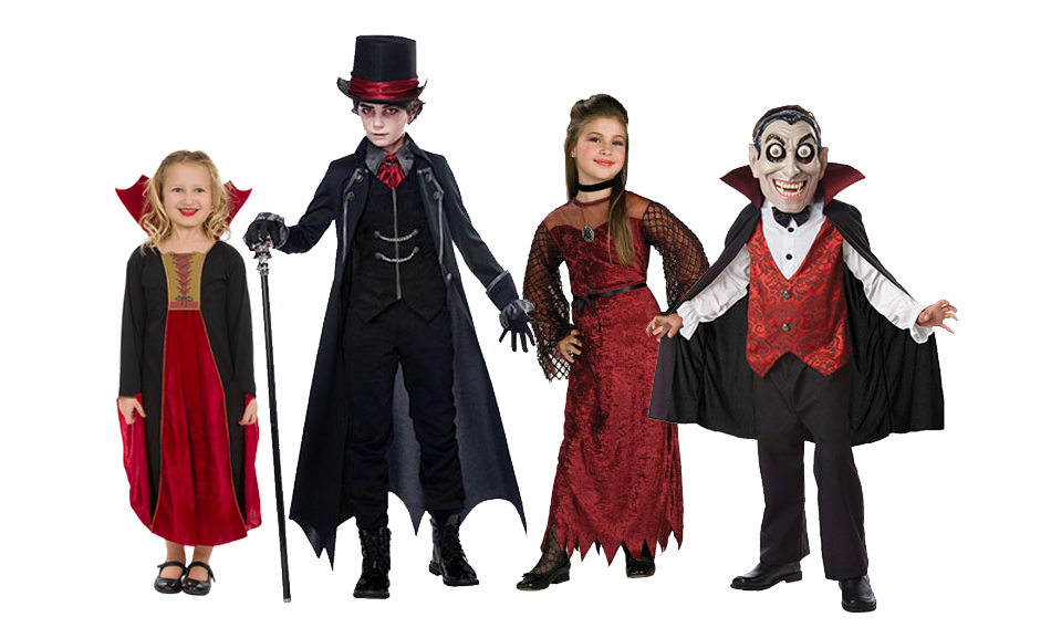 A group if children wearing Halloween vampire costumes.
