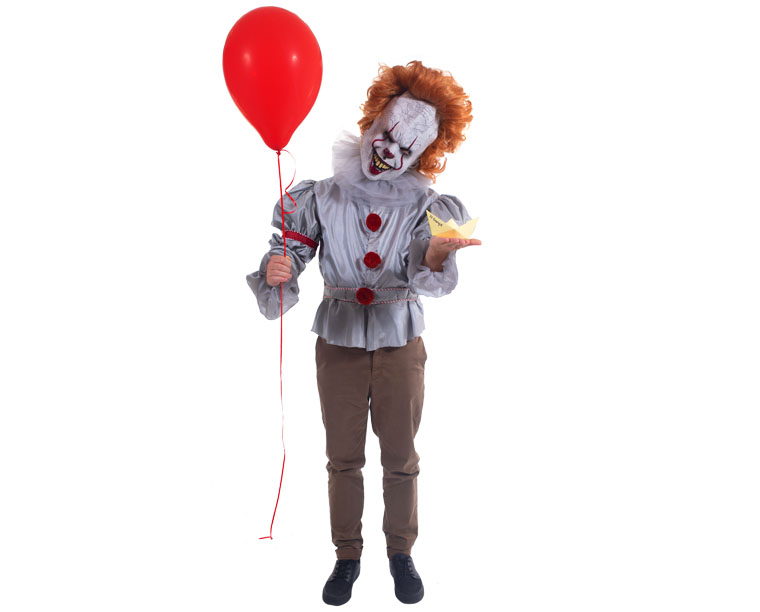 A person dressed in a Pennywise Clown costume from the IT Movie.