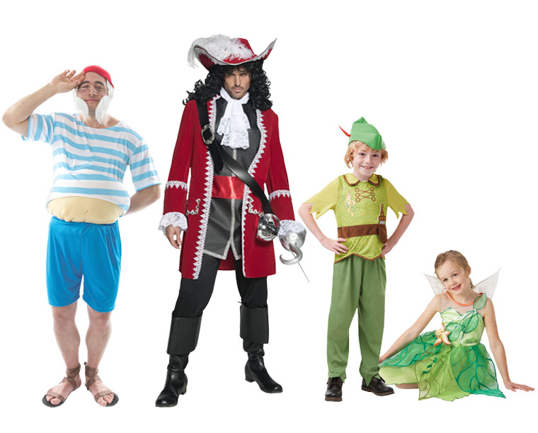 A family dressed in Peter Pan costumes.