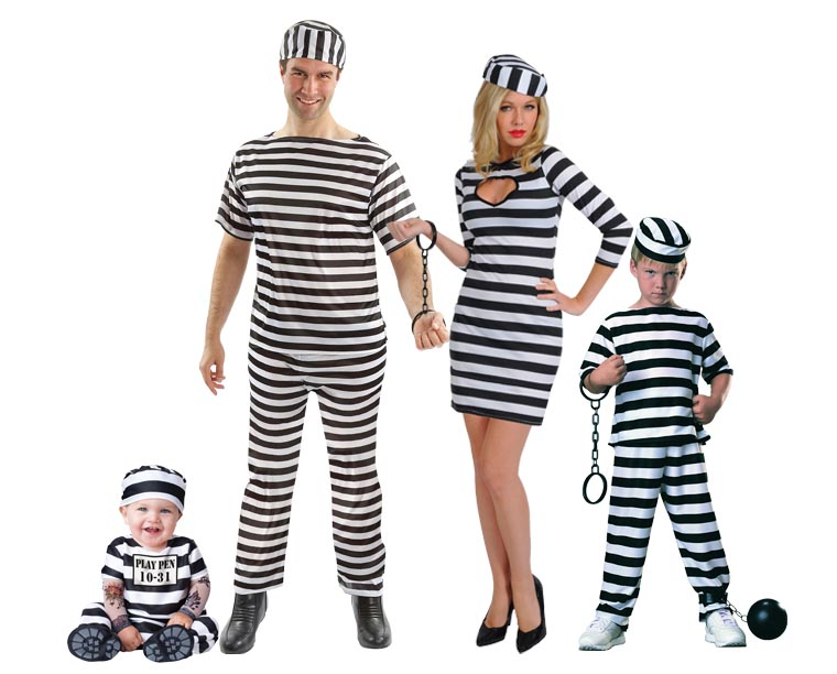A family wearing black and white striped Prisoner costumes.