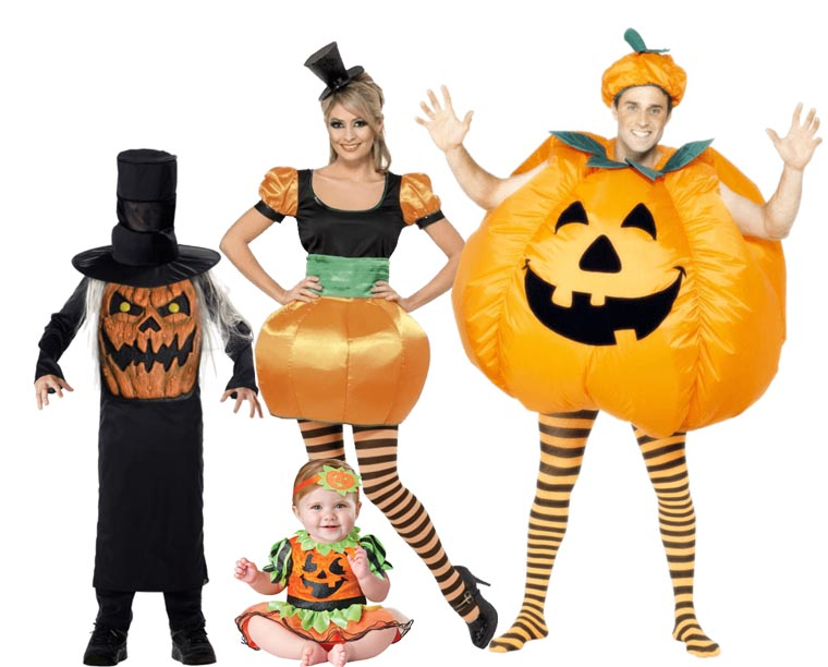 A family all wearing pumpkin Halloween costumes.