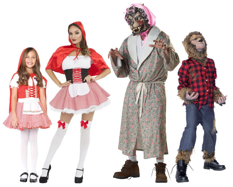 A family wearing Red riding hood and Wolf costumes for Halloween.