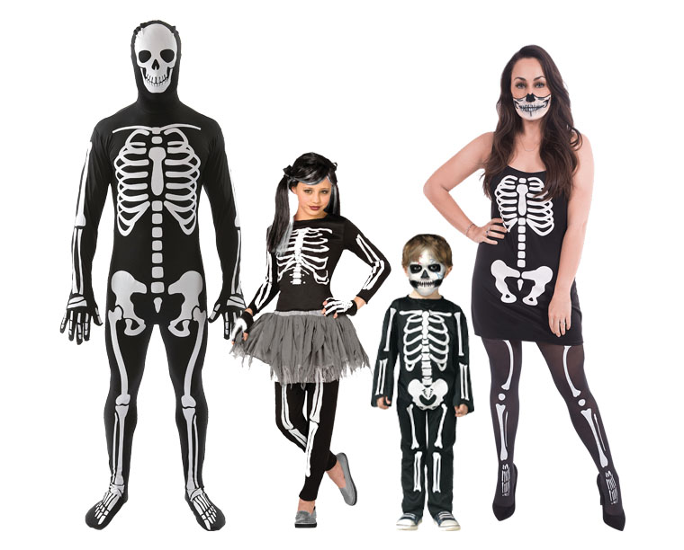 A family wearing skeleton costumes.