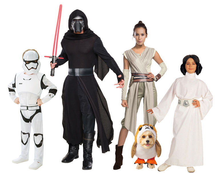 Family wearing group Star Wars costume.