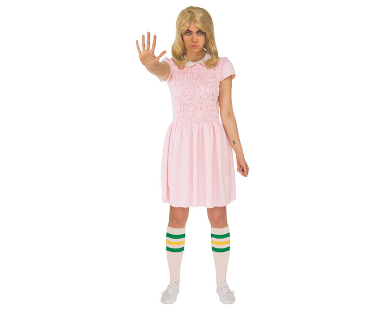 Woman dressed in pink Eleven dress from Stranger Things.