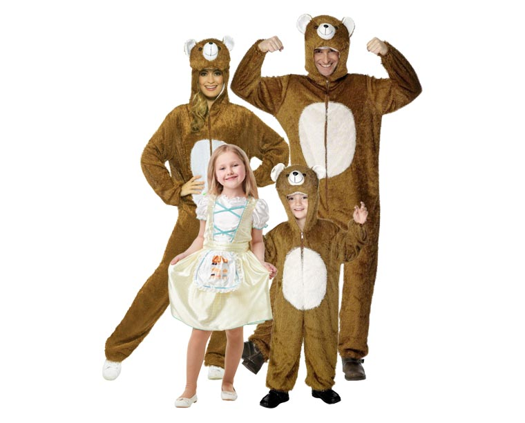 A family dressed in Goldilocks and the three bears costumes.