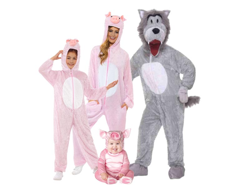 A family wearing costumes from the Three Little Pigs for Halloween.